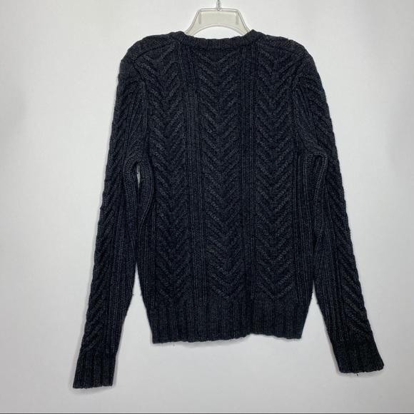 size S Vintage 90/'s Black Knit Button Up Alpaca and Merino Wool Cardigan Wide Sleeve Sweater by Club Monaco